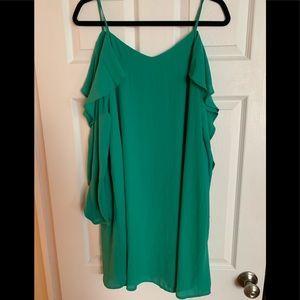 NWT Kelly green long cold shoulder swing dress, M